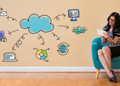 Cloud computing with woman using a tablet